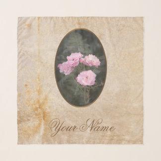 Vintager Entwurf. Foto der rosa Rosen. Addieren Schal