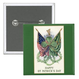 Vintager Entwurfs-St Patrick TagesButton-Knopf Quadratischer Button 5,1 Cm