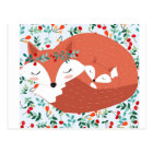 Vintager entzückender niedlicher Mutterfuchswolf Postkarte