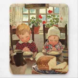 Vintager Erntedank, dankbare Kinder Mousepad