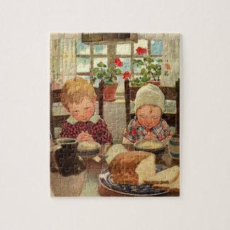 Vintager Erntedank, dankbare Kinder Puzzle