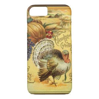 Vintager Erntedank-Gruß mit der Türkei iPhone 8/7 Hülle