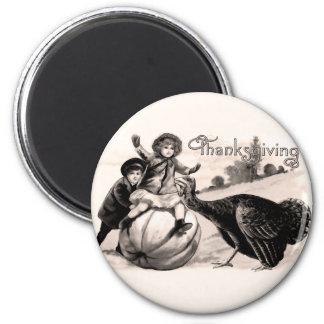 Vintager Erntedank Runder Magnet 5,7 Cm