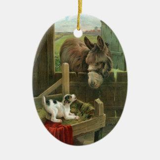 Vintager Esel-u. Welpen-Hund in Krippealtem Ovales Keramik Ornament
