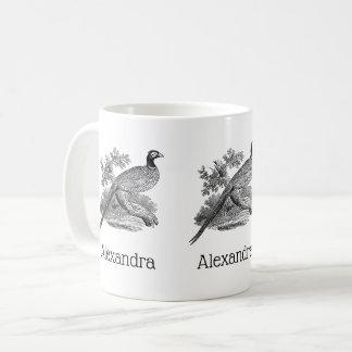 Vintager Fasan-Spiel-Vogel, der BW zeichnet Kaffeetasse