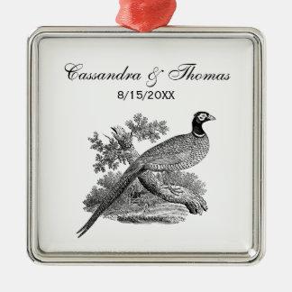 Vintager Fasan-Spiel-Vogel, der BW zeichnet Silbernes Ornament