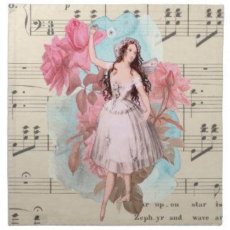 Vintager feenhafter Musik-Ballerina-mit Stoffserviette