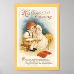 Vintager feiner Druck Halloweens Poster