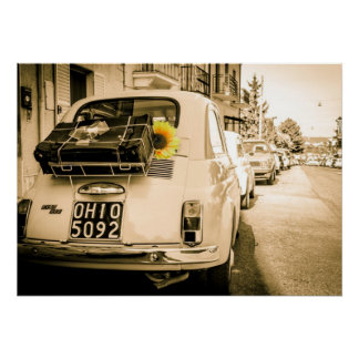 Vintager Fiat 500 Cinquecento in Italien-Plakat