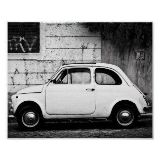 Vintager Fiat 500 Cinquecento in Rom Italien Poster