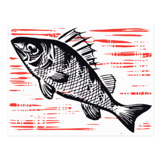 Vintager Fisch-Holzschnitt Postkarte