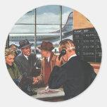 Vintager Fluglinien-Karten-Zähler mit Passagieren Runde Sticker