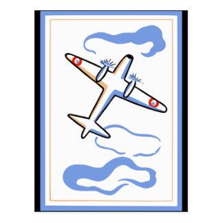Vintager Flugzeug-Druck Postkarte