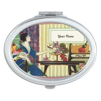Vintager Franzose-Aufkleber Taschenspiegel