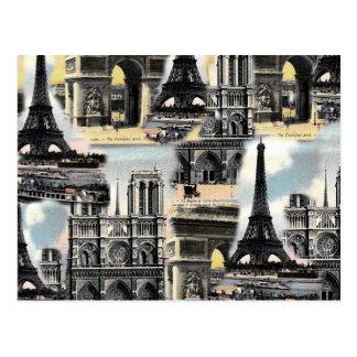 Vintager Franzose-Paris-Reise-Collagen-Eiffel-Turm Postkarte
