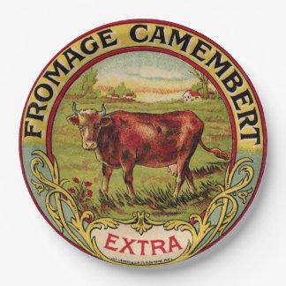 Vintager französischer Käse mit Pappteller