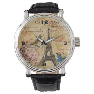 Vintager französischer mit Blumenturm Vogel-Paris Armbanduhr