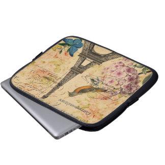 Vintager französischer mit Blumenturm Vogel-Paris Laptop Sleeve