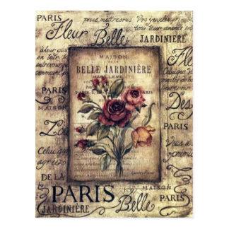 Vintager französischer Rosen-Entwurf Postkarte