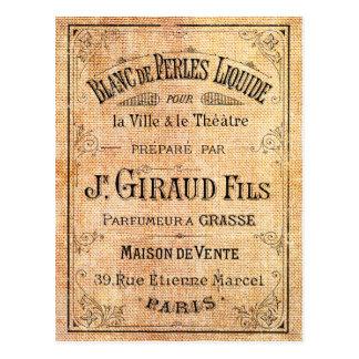 Vintager französischer Schönheitsaufkleber Postkarte