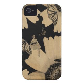 Vintager Frauen-Blumen-SchmetterlingGrunge iPhone 4 Hülle