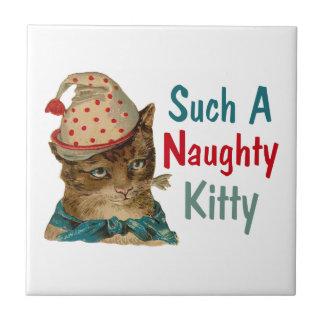 Vintager frecher Kitty mit Fischen im Mund Fliese