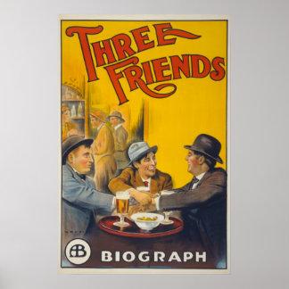 Vintager Freund-Film Biograf Studio-drei Poster