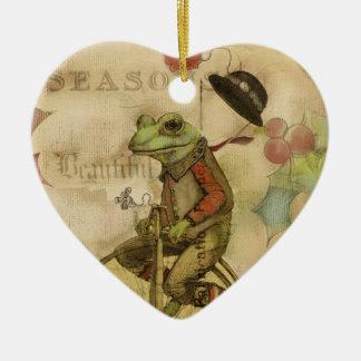 Vintager frohe Weihnacht-Frosch auf Keramik Ornament