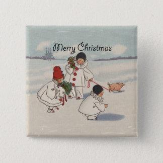 Vintager frohe Weihnacht-Schnee-Kinderkunst-Druck Quadratischer Button 5,1 Cm