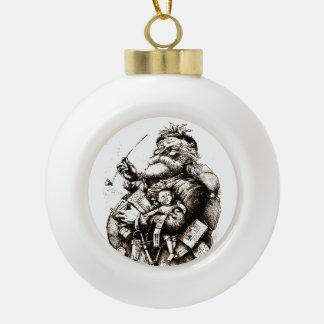 Vintager fröhlicher alter Weihnachtsmann Keramik Kugel-Ornament