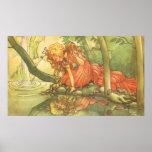 Vintager Frosch-Prinz; Prinzessin und ihre Reflexi Poster