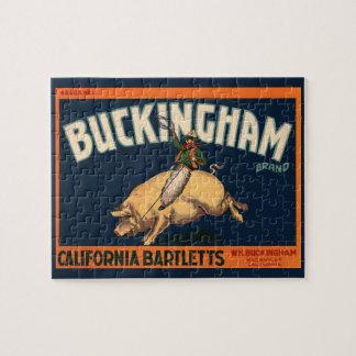 Vintager Frucht-Kisten-Aufkleber-Kunst-Cowboy auf Puzzle
