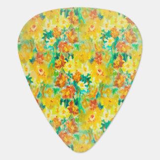 Vintager Frühling mit Blumen auf Gelb Plektrum