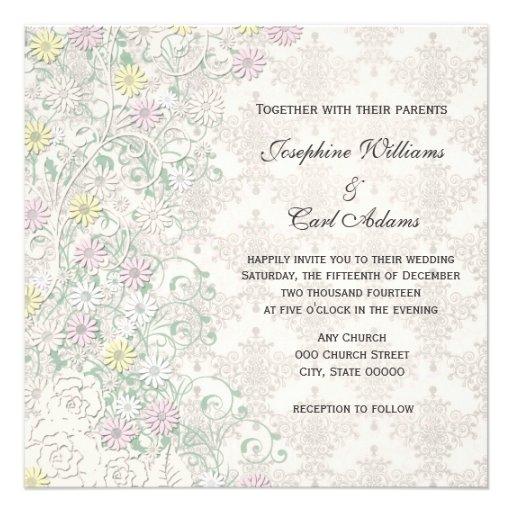 Vintager Frühlings-empfindliches Blumen weg vom Individuelle Einladung