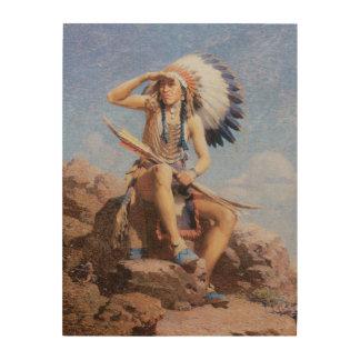 Vintager gebürtiger amerikanischer Ureinwohner, Holzleinwand