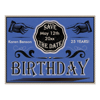 Vintager Geburtstag Save the Date Postkarte