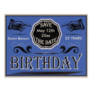 Vintager Geburtstag Save the Date Postkarten