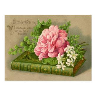 Vintager Geburtstags-Gruß wünscht mit Blumennobles Postkarte