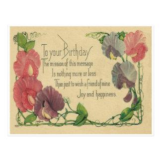 Vintager Geburtstags-süße Erbsen Postkarte