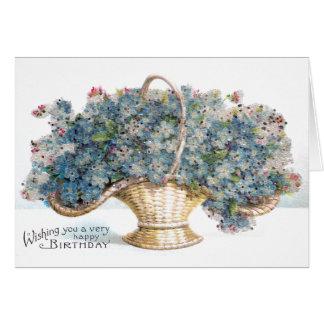 Vintager Geburtstags-wulstiger Korb der blauen Karte