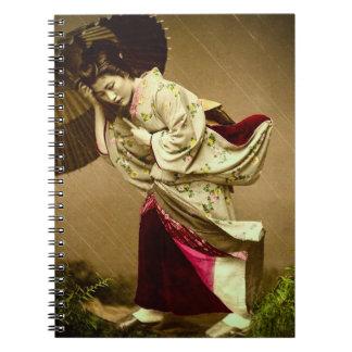 Vintager Geisha in einem Notizblock