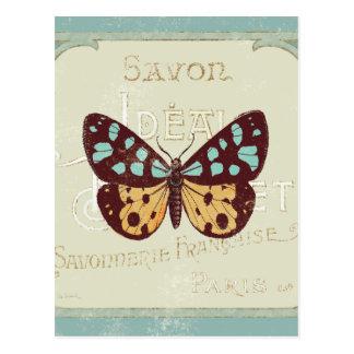 Vintager gemusterter Schmetterling Postkarte