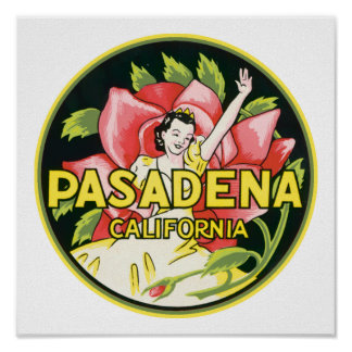 Vintager Gepäck-Aufkleber Pasadenas Kalifornien Plakatdruck