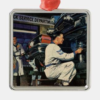 Vintager Geschäfts-Auto-Mechaniker, Silbernes Ornament