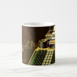 Vintager Geschäfts-Buchhalter, Buchungsmaschine Kaffeetasse