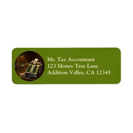 Vintager Geschäfts-Buchhalter, Buchungsmaschine Rückversand-Adressaufkleber