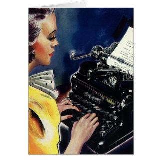 Vintager Geschäfts-Führungskraft-Sekretär Typing Karte