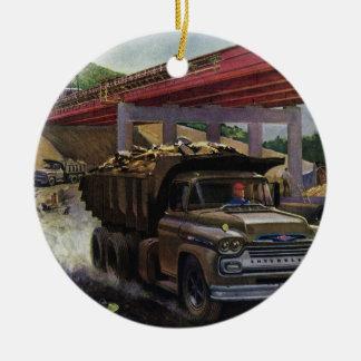 Vintager Geschäfts-Kipper an einer Baustelle Keramik Ornament