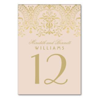 Vintager Glamour der Hochzeits-Tischnummer-|