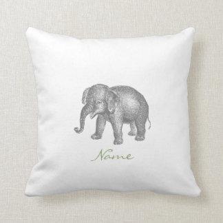 Vintager glücklicher Baby-Elefant und Kissen